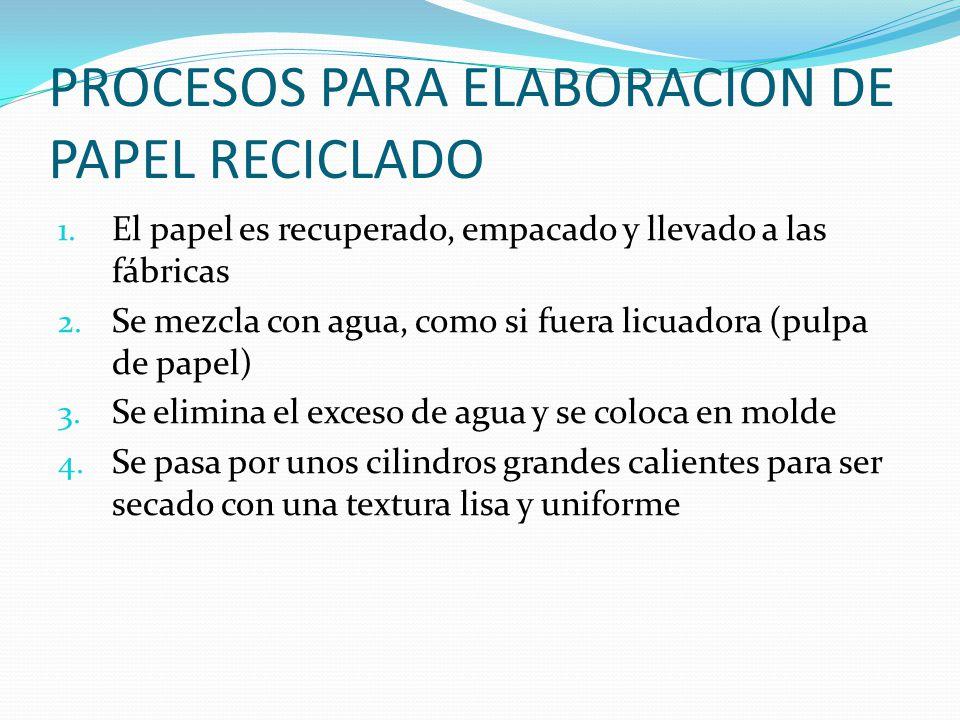 PROCESOS PARA ELABORACION DE PAPEL RECICLADO 1. El papel es recuperado, empacado y llevado a las fábricas 2. Se mezcla con agua, como si fuera licuado