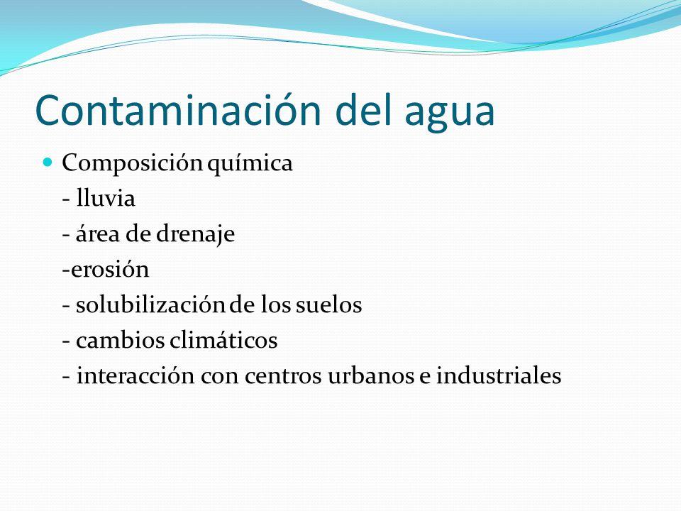 Contaminación del agua Composición química - lluvia - área de drenaje -erosión - solubilización de los suelos - cambios climáticos - interacción con c