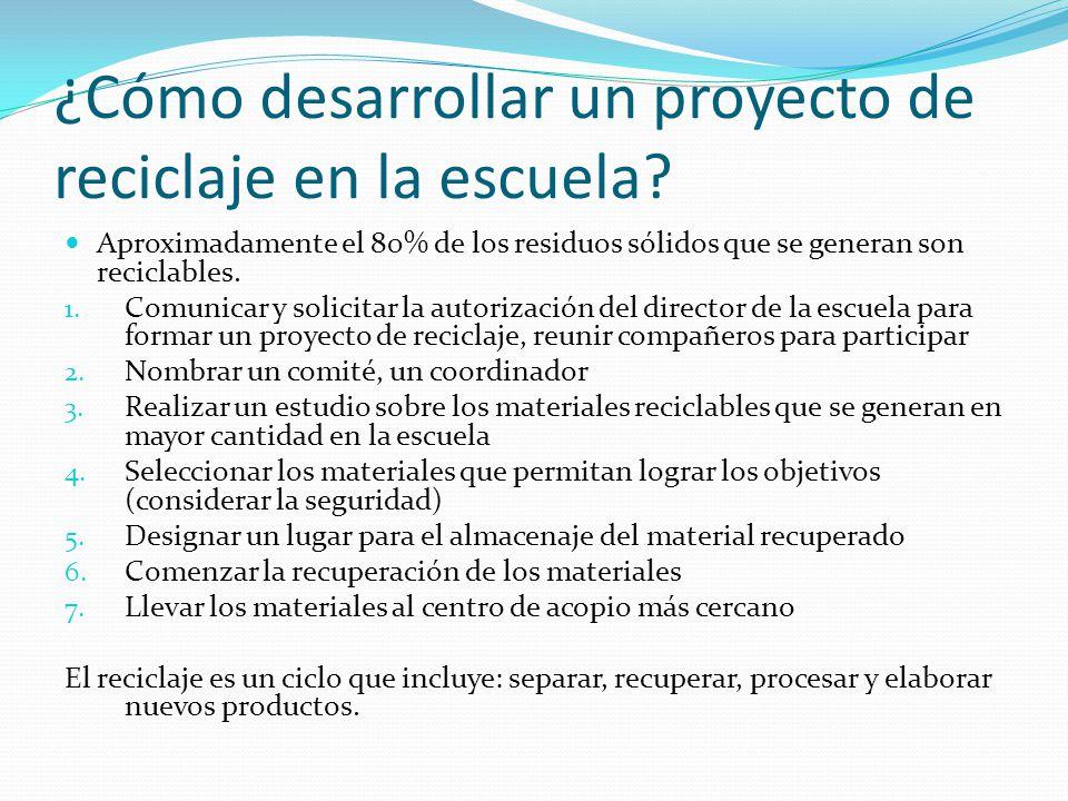 ¿Cómo desarrollar un proyecto de reciclaje en la escuela? Aproximadamente el 80% de los residuos sólidos que se generan son reciclables. 1. Comunicar