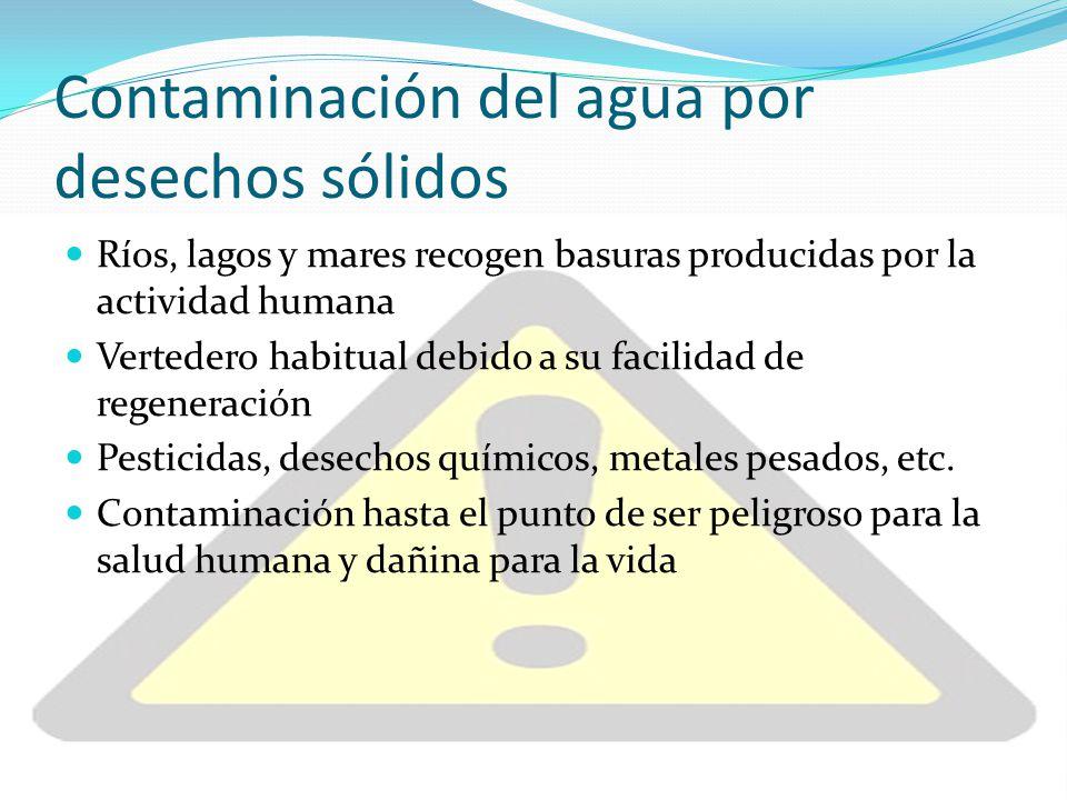Contaminación del agua por desechos sólidos Ríos, lagos y mares recogen basuras producidas por la actividad humana Vertedero habitual debido a su faci