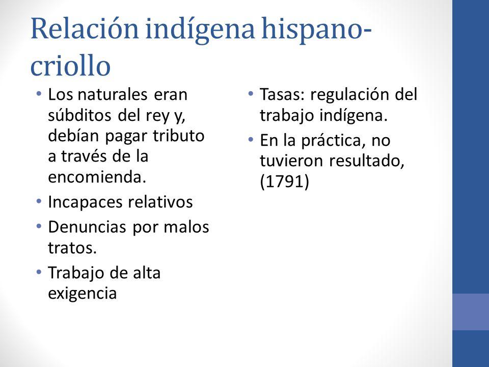 Relación indígena hispano- criollo Los naturales eran súbditos del rey y, debían pagar tributo a través de la encomienda. Incapaces relativos Denuncia