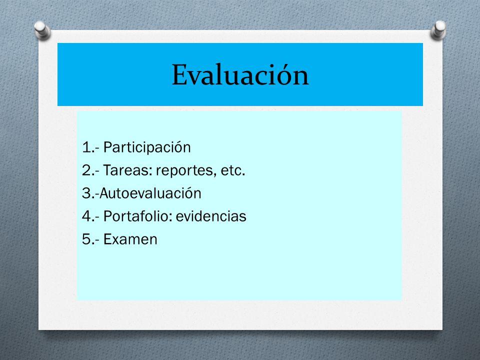 Evaluación 1.- Participación 2.- Tareas: reportes, etc.