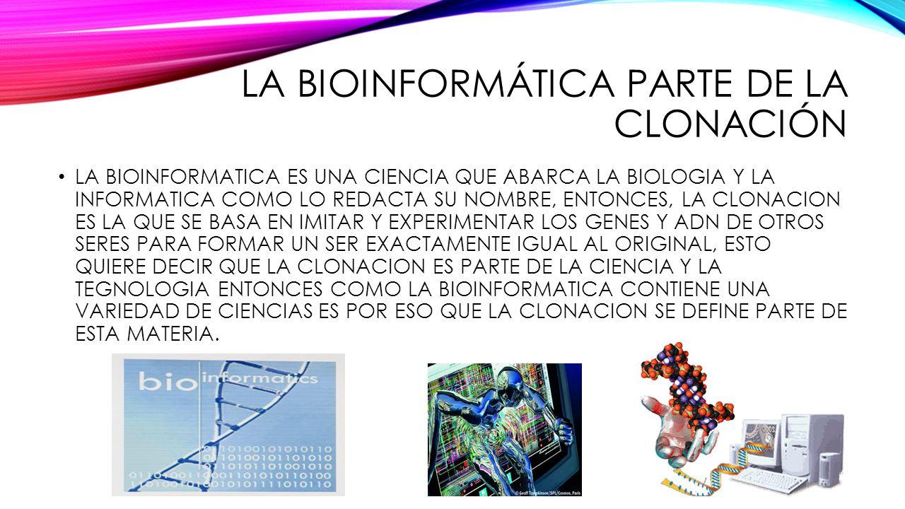 LA BIOINFORMÁTICA PARTE DE LA CLONACIÓN LA BIOINFORMATICA ES UNA CIENCIA QUE ABARCA LA BIOLOGIA Y LA INFORMATICA COMO LO REDACTA SU NOMBRE, ENTONCES,