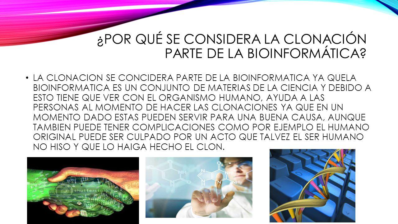 ¿POR QUÉ SE CONSIDERA LA CLONACIÓN PARTE DE LA BIOINFORMÁTICA? LA CLONACION SE CONCIDERA PARTE DE LA BIOINFORMATICA YA QUELA BIOINFORMATICA ES UN CONJ