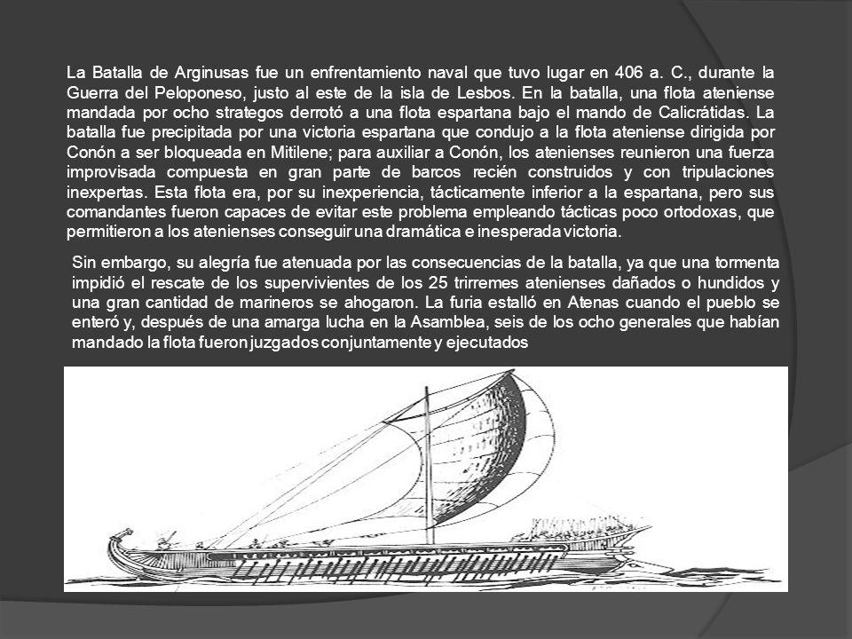 La Batalla de Arginusas fue un enfrentamiento naval que tuvo lugar en 406 a.