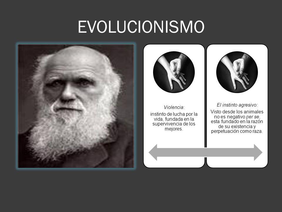 EVOLUCIONISMO Violencia: instinto de lucha por la vida, fundada en la supervivencia de los mejores.