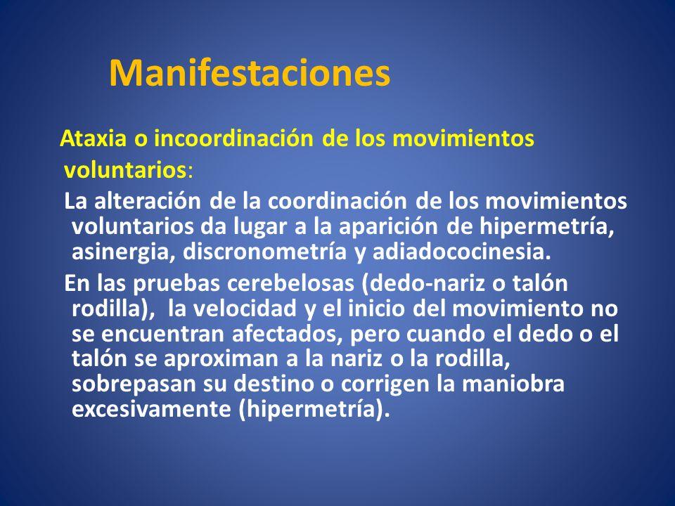 Ataxia o incoordinación de los movimientos voluntarios: La alteración de la coordinación de los movimientos voluntarios da lugar a la aparición de hip