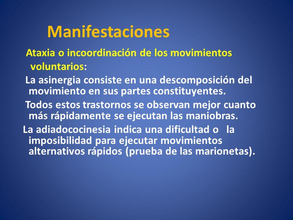 Ataxia o incoordinación de los movimientos voluntarios: La asinergia consiste en una descomposición del movimiento en sus partes constituyentes. Todos