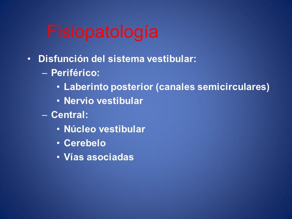 Fisiopatología Disfunción del sistema vestibular: –Periférico: Laberinto posterior (canales semicirculares) Nervio vestibular –Central: Núcleo vestibu