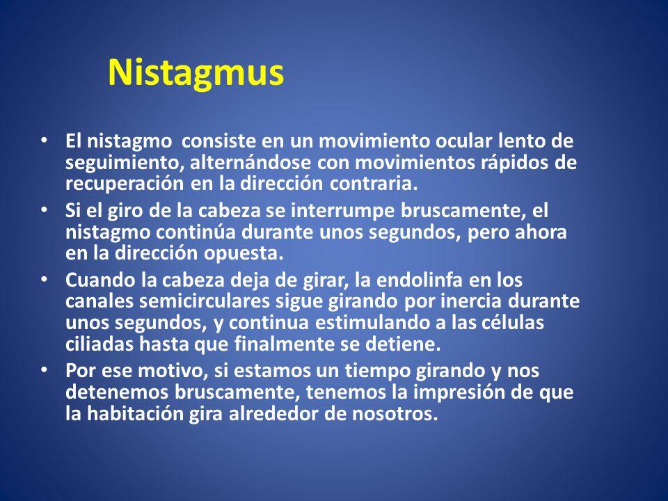 Nistagmus El nistagmo consiste en un movimiento ocular lento de seguimiento, alternándose con movimientos rápidos de recuperación en la dirección cont