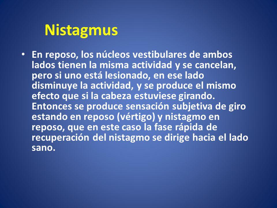 Nistagmus En reposo, los núcleos vestibulares de ambos lados tienen la misma actividad y se cancelan, pero si uno está lesionado, en ese lado disminuy