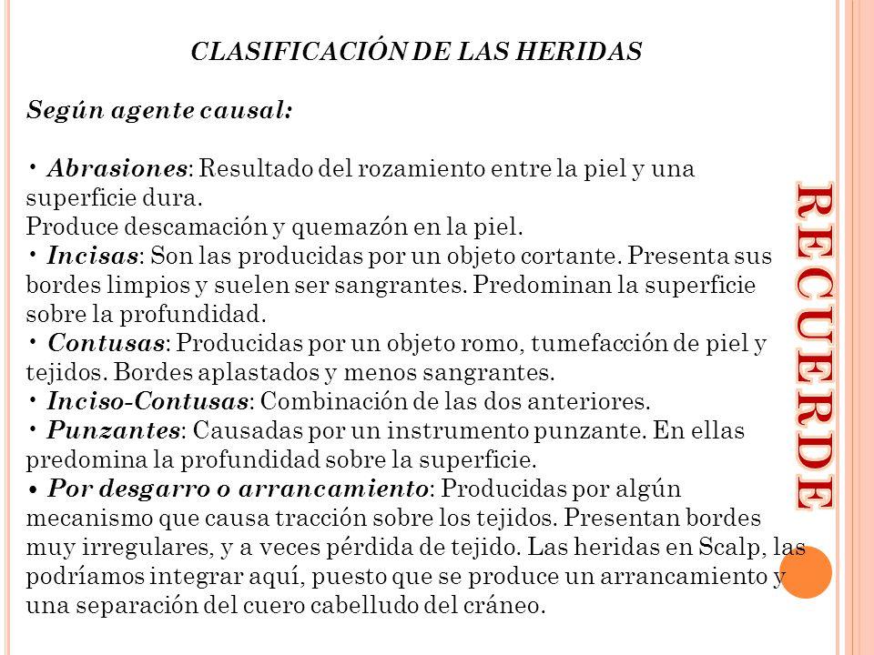 CLASIFICACIÓN DE LAS HERIDAS Según agente causal: Abrasiones : Resultado del rozamiento entre la piel y una superficie dura. Produce descamación y que