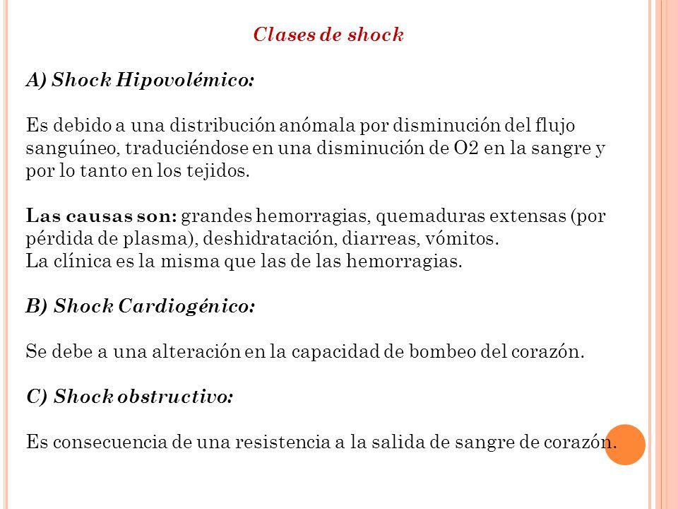 Clases de shock A)Shock Hipovolémico: Es debido a una distribución anómala por disminución del flujo sanguíneo, traduciéndose en una disminución de O2
