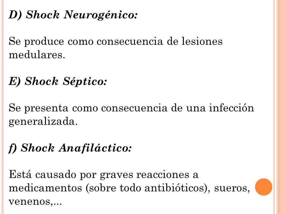 D) Shock Neurogénico: Se produce como consecuencia de lesiones medulares. E) Shock Séptico: Se presenta como consecuencia de una infección generalizad