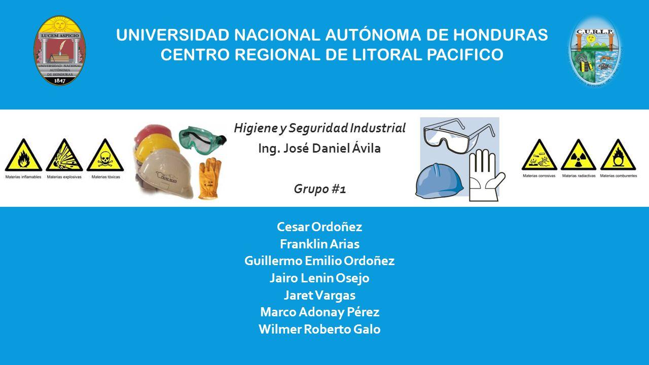 UNIVERSIDAD NACIONAL AUTÓNOMA DE HONDURAS CENTRO REGIONAL DE LITORAL PACIFICO Higiene y Seguridad Industrial Ing.