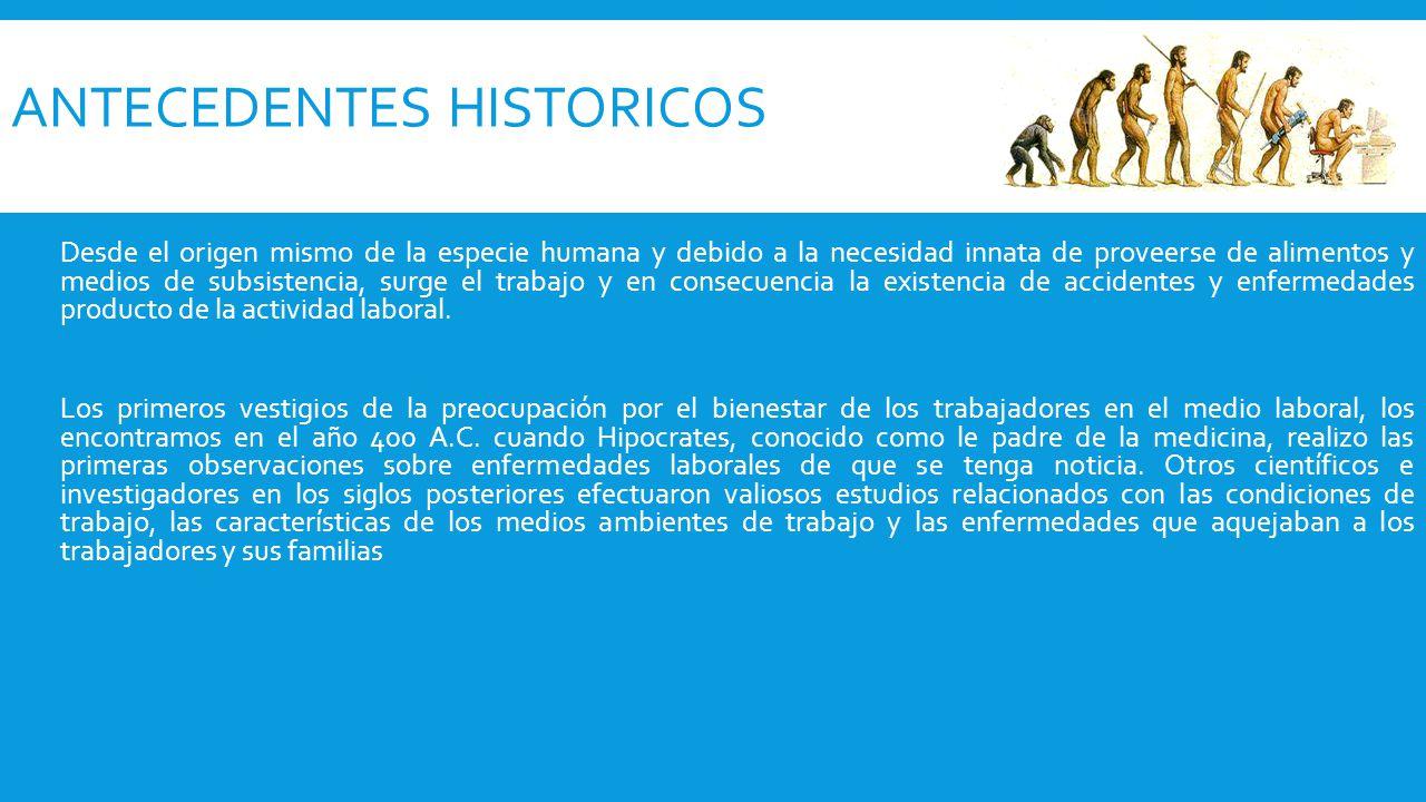 ANTECEDENTES HISTORICOS Desde el origen mismo de la especie humana y debido a la necesidad innata de proveerse de alimentos y medios de subsistencia,