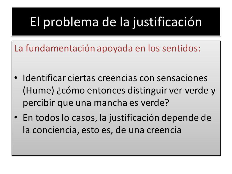 El problema de la justificación La fundamentación apoyada en los sentidos: Identificar ciertas creencias con sensaciones (Hume) ¿cómo entonces disting