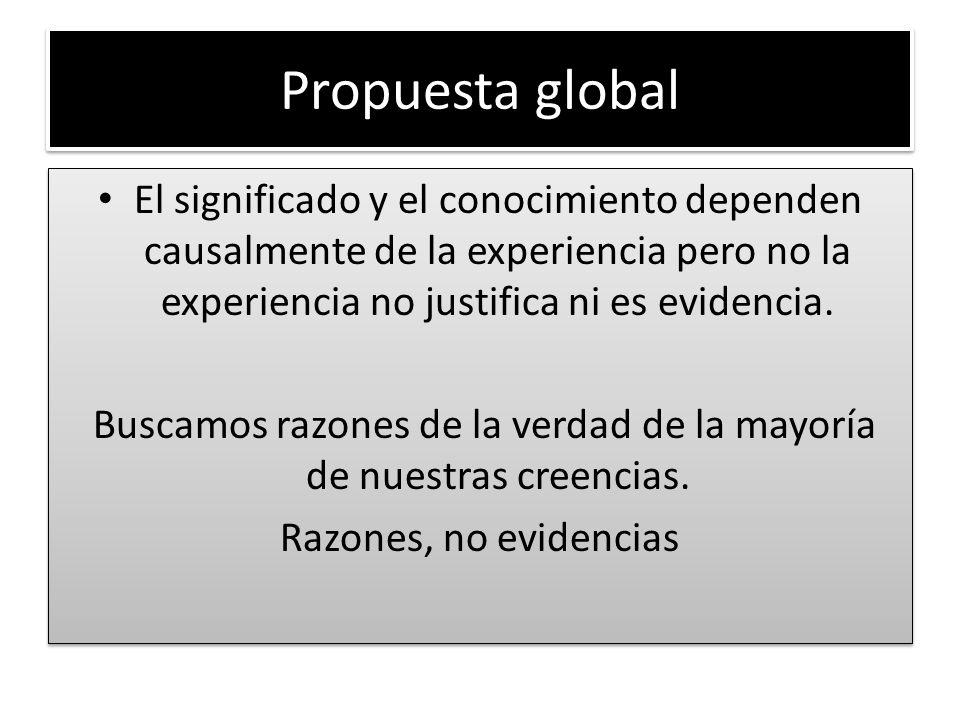 Propuesta global El significado y el conocimiento dependen causalmente de la experiencia pero no la experiencia no justifica ni es evidencia. Buscamos