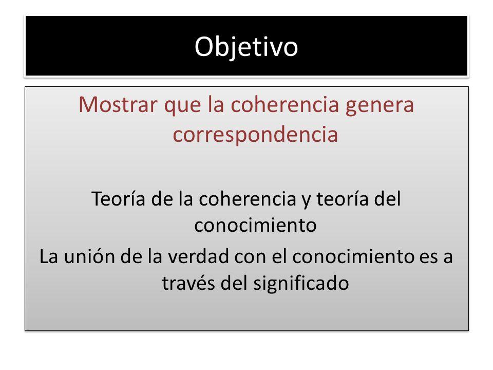Objetivo Mostrar que la coherencia genera correspondencia Teoría de la coherencia y teoría del conocimiento La unión de la verdad con el conocimiento es a través del significado Mostrar que la coherencia genera correspondencia Teoría de la coherencia y teoría del conocimiento La unión de la verdad con el conocimiento es a través del significado