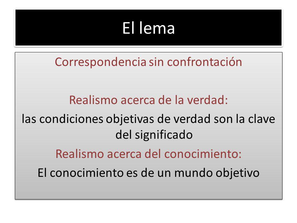 El lema Correspondencia sin confrontación Realismo acerca de la verdad: las condiciones objetivas de verdad son la clave del significado Realismo acer