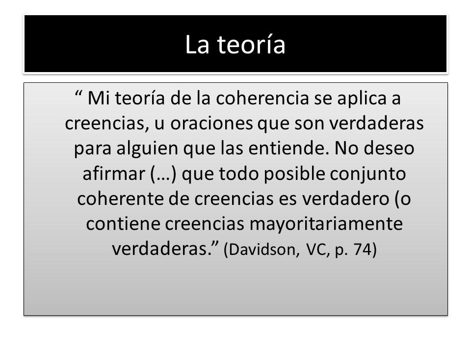La teoría Mi teoría de la coherencia se aplica a creencias, u oraciones que son verdaderas para alguien que las entiende.