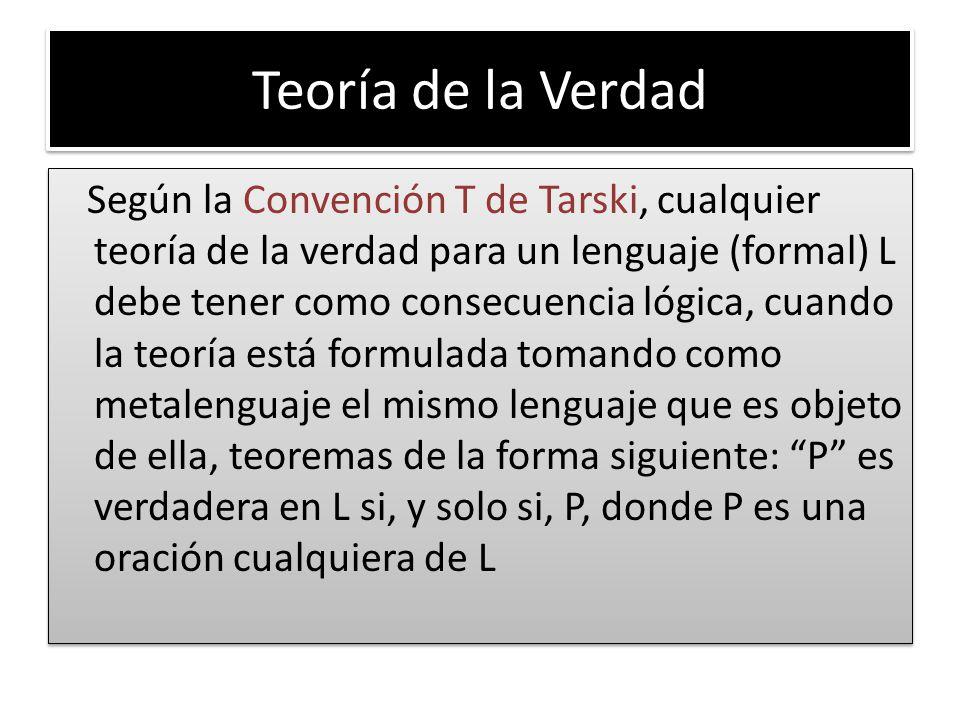 Teoría de la Verdad Según la Convención T de Tarski, cualquier teoría de la verdad para un lenguaje (formal) L debe tener como consecuencia lógica, cuando la teoría está formulada tomando como metalenguaje el mismo lenguaje que es objeto de ella, teoremas de la forma siguiente: P es verdadera en L si, y solo si, P, donde P es una oración cualquiera de L