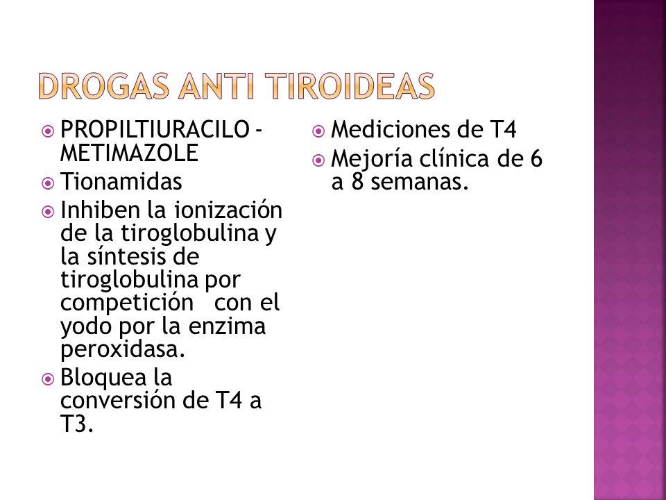 PROPILTIURACILO - METIMAZOLE Tionamidas Inhiben la ionización de la tiroglobulina y la síntesis de tiroglobulina por competición con el yodo por la en