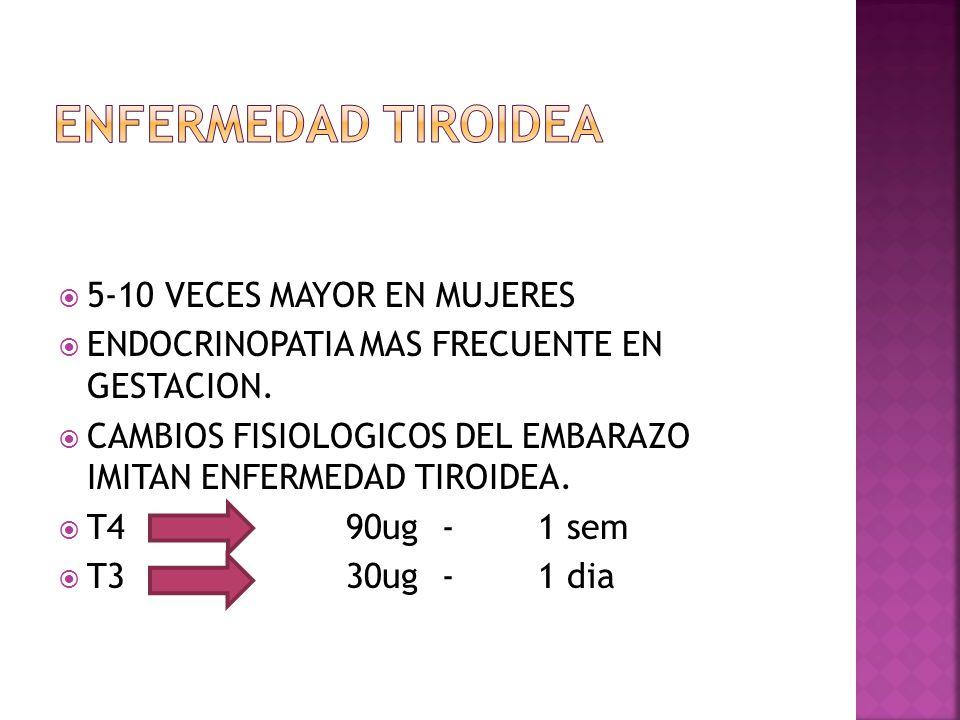 5-10 VECES MAYOR EN MUJERES ENDOCRINOPATIA MAS FRECUENTE EN GESTACION. CAMBIOS FISIOLOGICOS DEL EMBARAZO IMITAN ENFERMEDAD TIROIDEA. T4 90ug-1 sem T33
