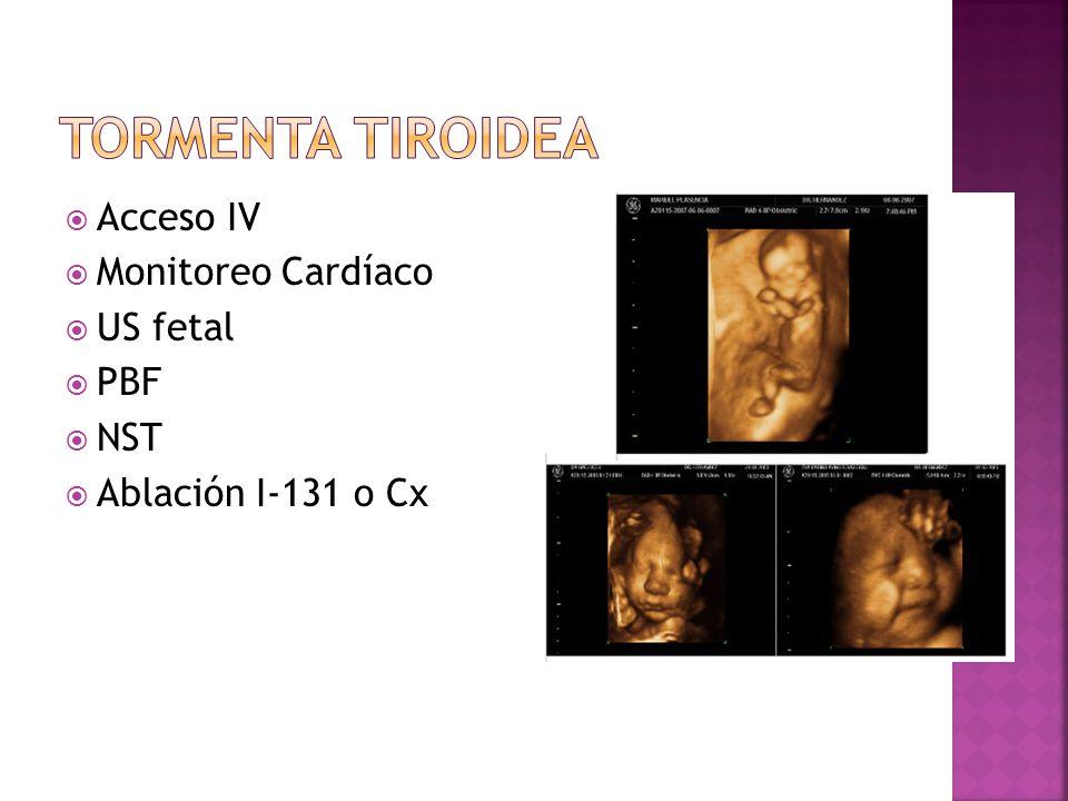 Acceso IV Monitoreo Cardíaco US fetal PBF NST Ablación I-131 o Cx