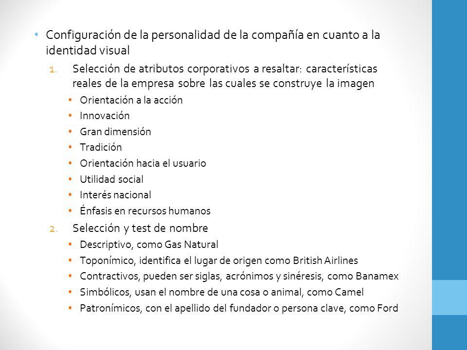 Configuración de la personalidad de la compañía en cuanto a la identidad visual 1.Selección de atributos corporativos a resaltar: características real