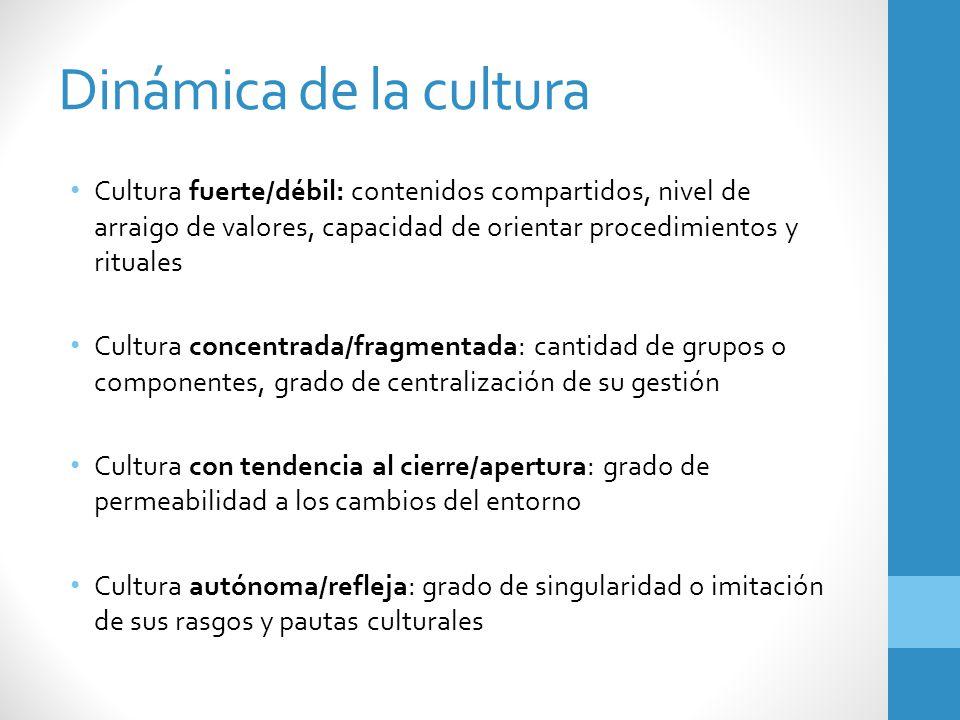 Dinámica de la cultura Cultura fuerte/débil: contenidos compartidos, nivel de arraigo de valores, capacidad de orientar procedimientos y rituales Cult