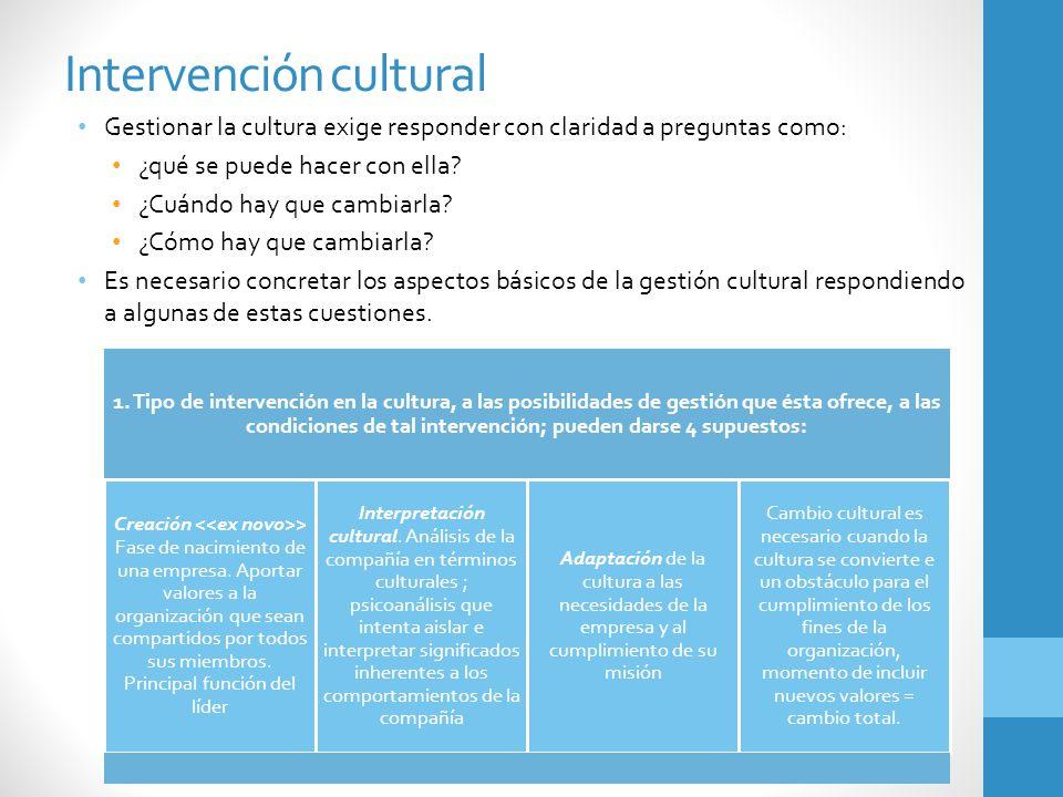 Intervención cultural Gestionar la cultura exige responder con claridad a preguntas como: ¿qué se puede hacer con ella? ¿Cuándo hay que cambiarla? ¿Có
