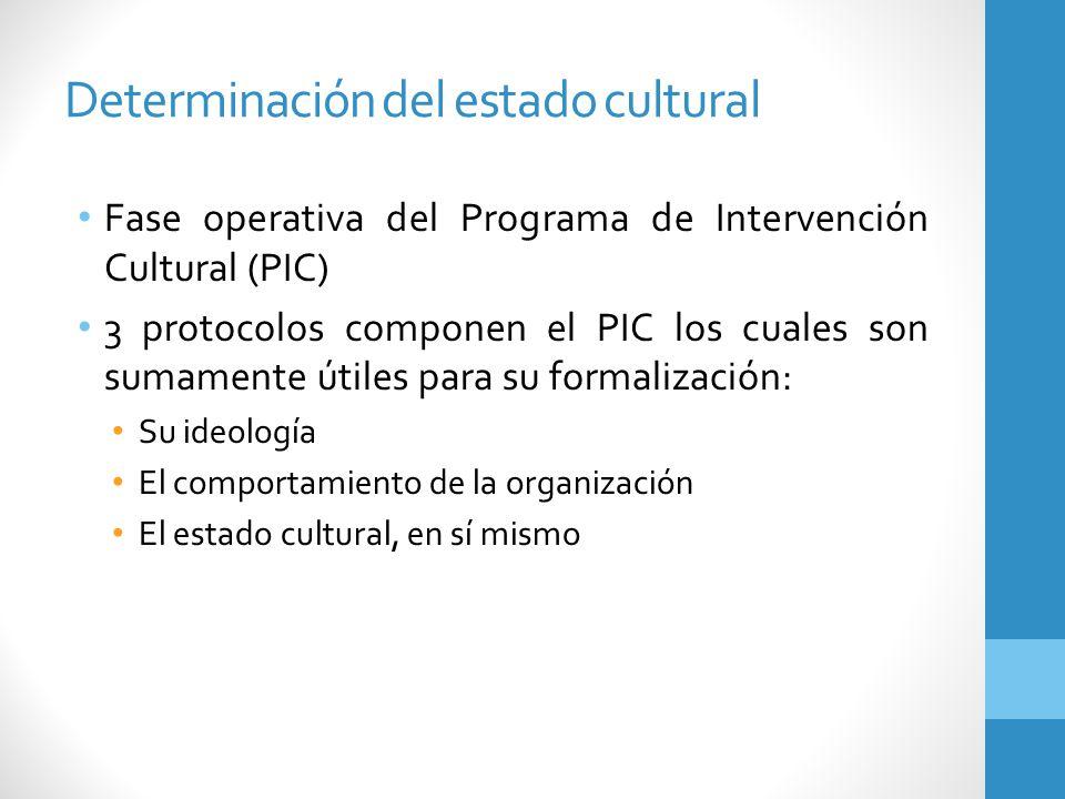 Determinación del estado cultural Fase operativa del Programa de Intervención Cultural (PIC) 3 protocolos componen el PIC los cuales son sumamente úti