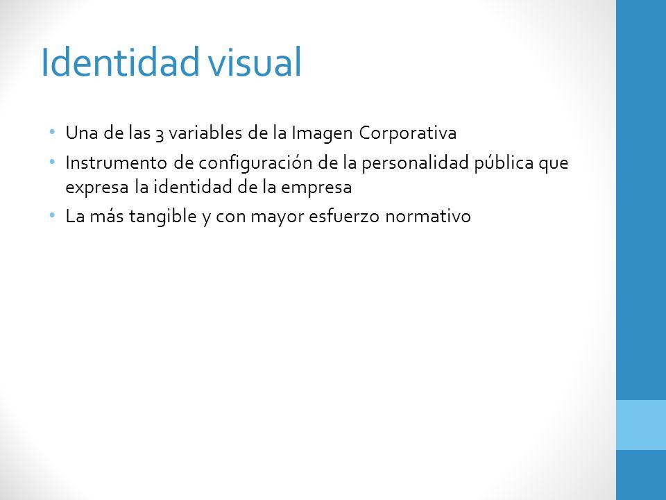Identidad visual Una de las 3 variables de la Imagen Corporativa Instrumento de configuración de la personalidad pública que expresa la identidad de l