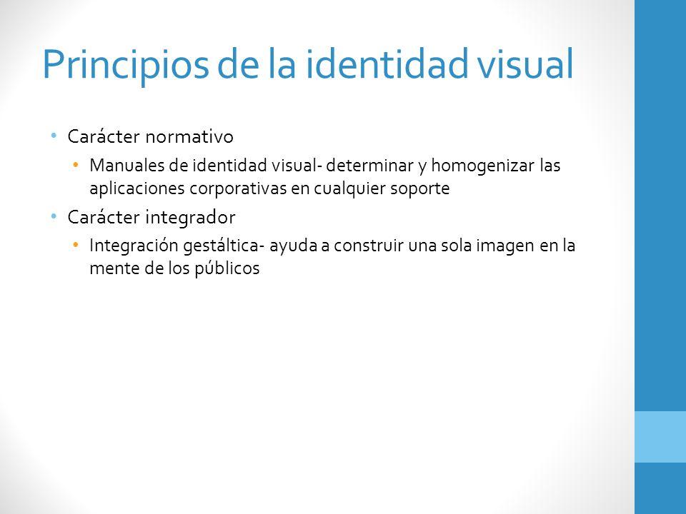Principios de la identidad visual Carácter normativo Manuales de identidad visual- determinar y homogenizar las aplicaciones corporativas en cualquier