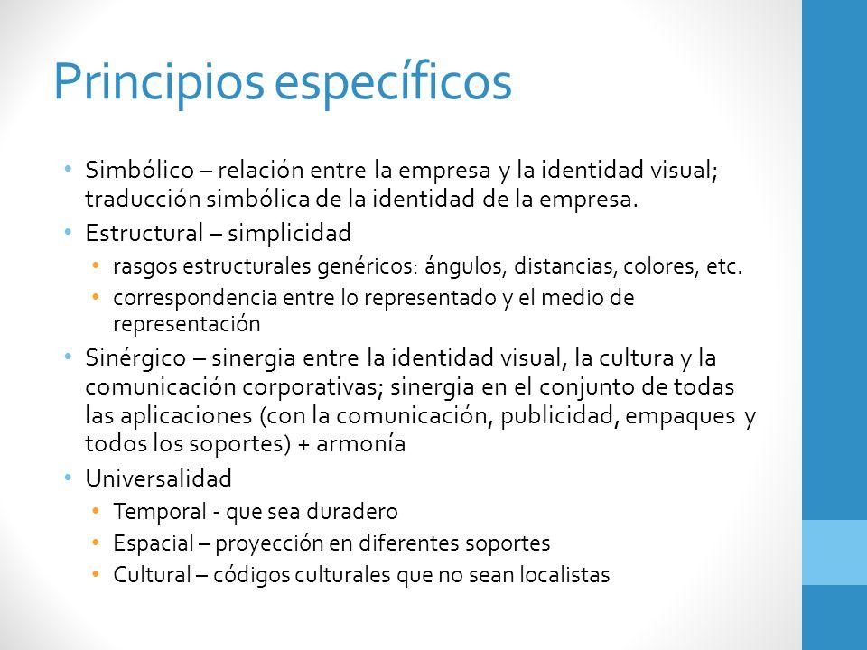 Principios específicos Simbólico – relación entre la empresa y la identidad visual; traducción simbólica de la identidad de la empresa. Estructural –