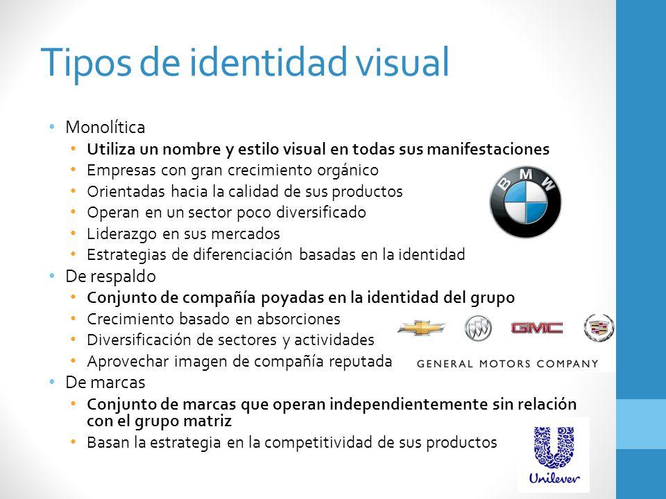 Tipos de identidad visual Monolítica Utiliza un nombre y estilo visual en todas sus manifestaciones Empresas con gran crecimiento orgánico Orientadas