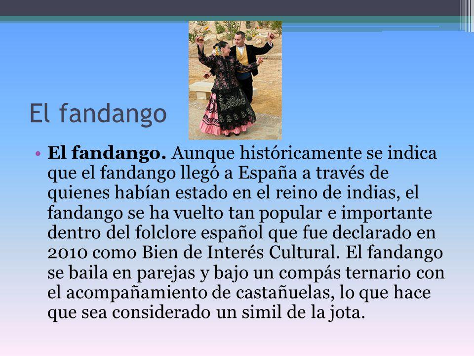 El fandango El fandango. Aunque históricamente se indica que el fandango llegó a España a través de quienes habían estado en el reino de indias, el fa