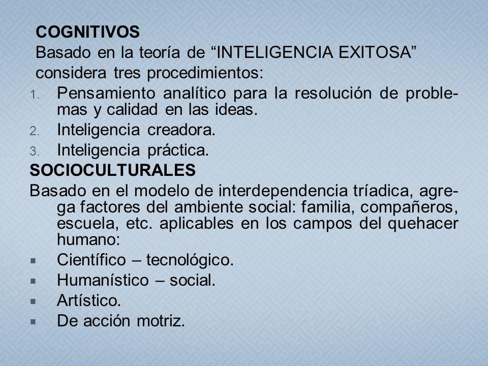 COGNITIVOS Basado en la teoría de INTELIGENCIA EXITOSA considera tres procedimientos: 1. Pensamiento analítico para la resolución de proble- mas y cal