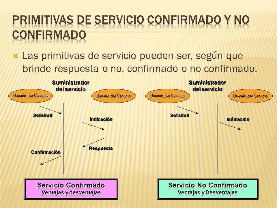 Las primitivas de servicio pueden ser, según que brinde respuesta o no, confirmado o no confirmado.