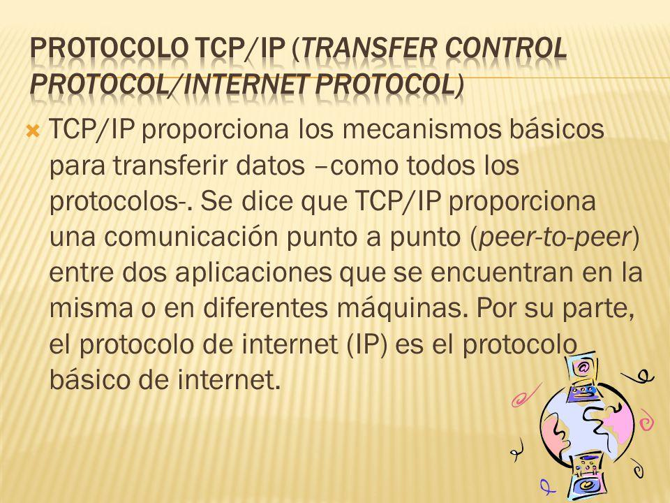 TCP/IP proporciona los mecanismos básicos para transferir datos –como todos los protocolos-.