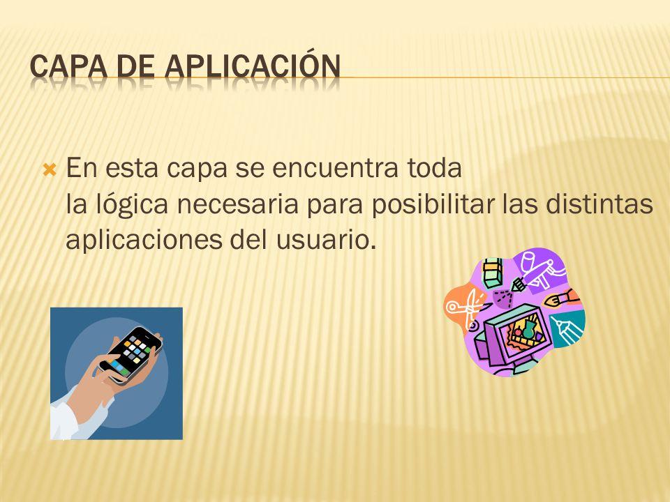 En esta capa se encuentra toda la lógica necesaria para posibilitar las distintas aplicaciones del usuario.