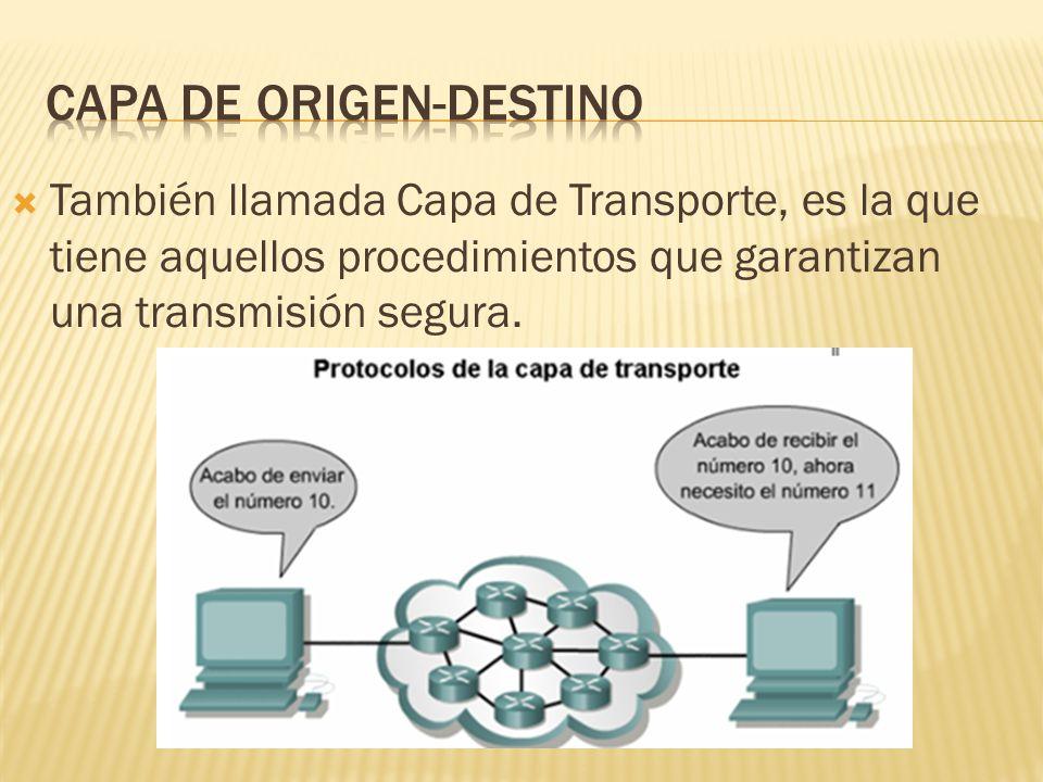 También llamada Capa de Transporte, es la que tiene aquellos procedimientos que garantizan una transmisión segura.