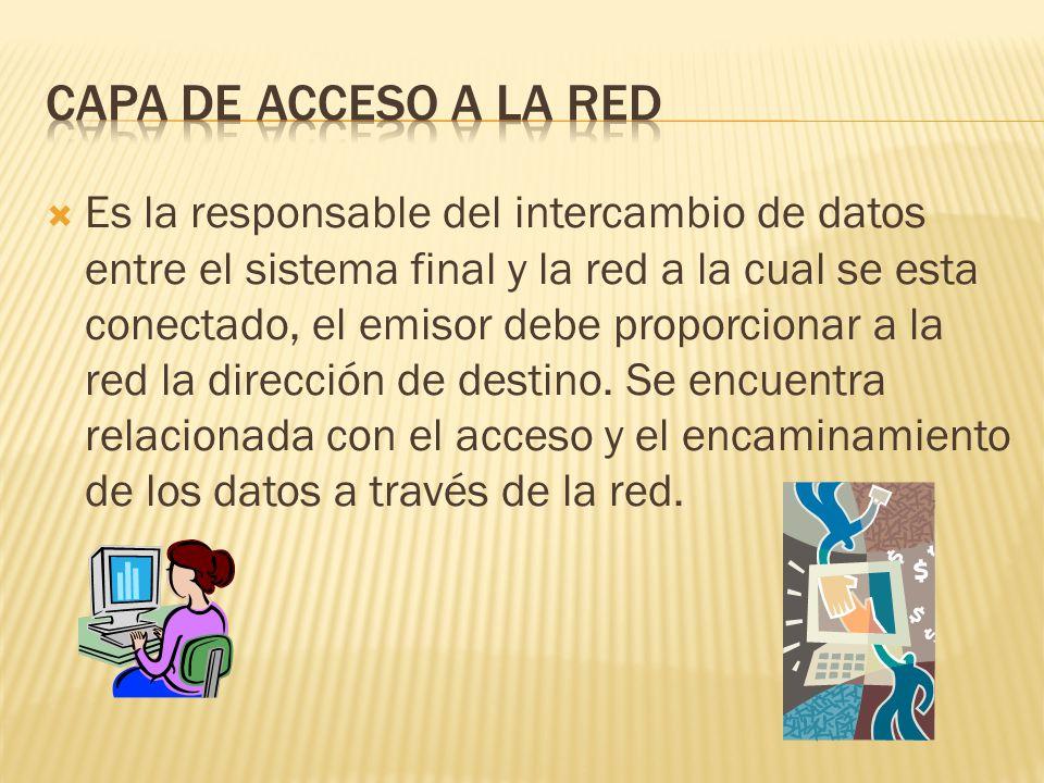 Es la responsable del intercambio de datos entre el sistema final y la red a la cual se esta conectado, el emisor debe proporcionar a la red la dirección de destino.