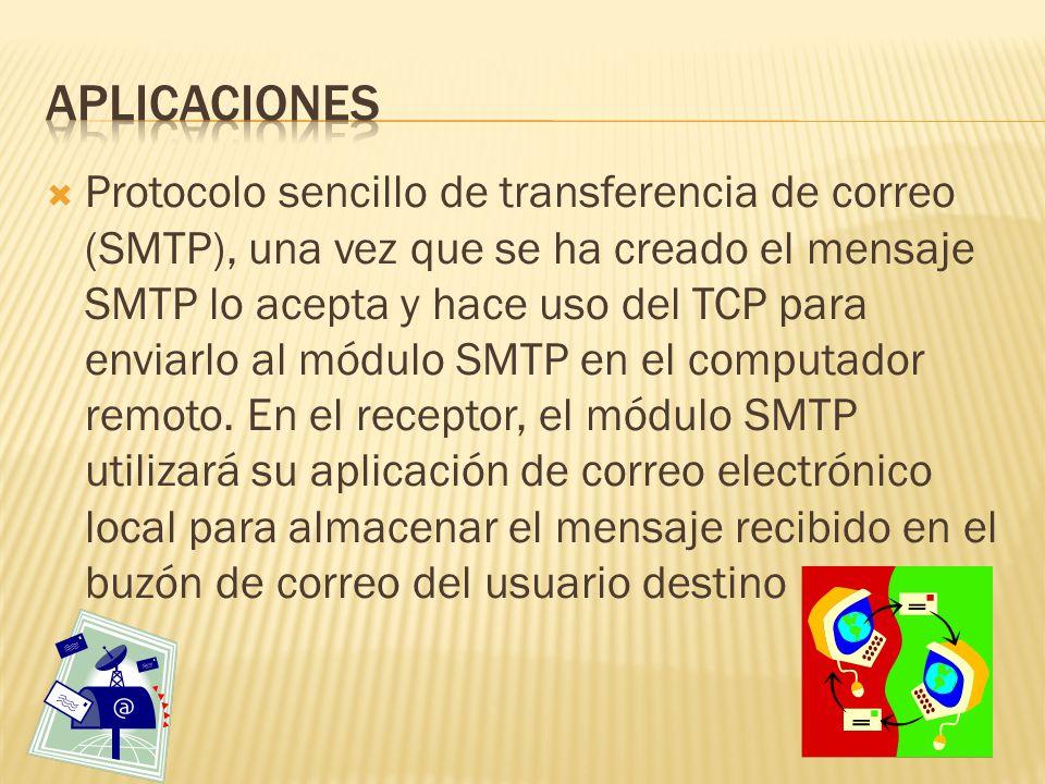 Protocolo sencillo de transferencia de correo (SMTP), una vez que se ha creado el mensaje SMTP lo acepta y hace uso del TCP para enviarlo al módulo SMTP en el computador remoto.