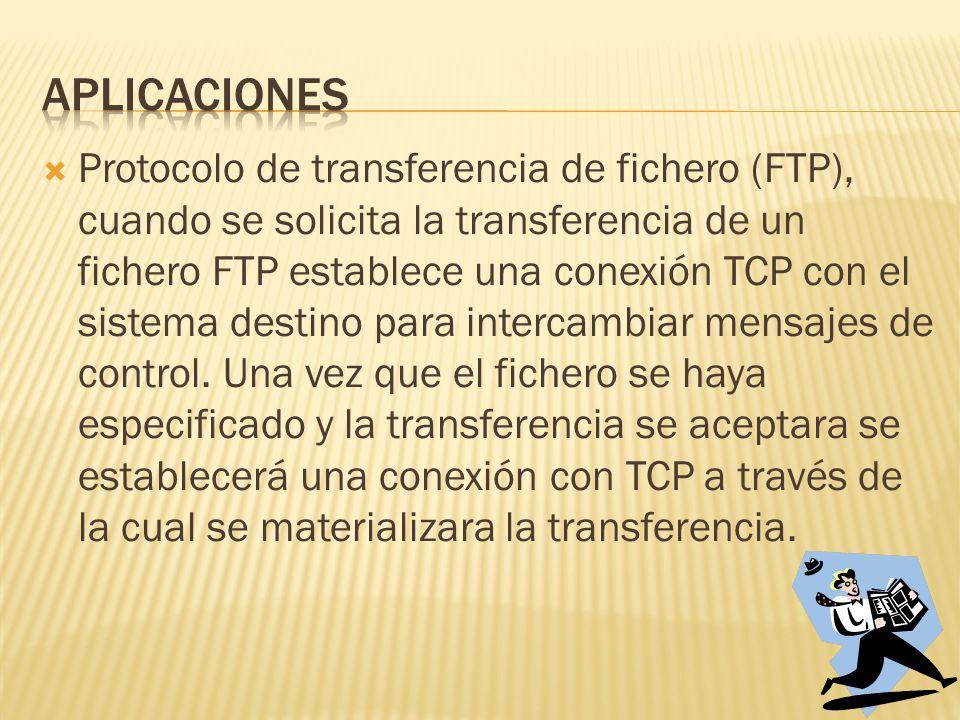 Protocolo de transferencia de fichero (FTP), cuando se solicita la transferencia de un fichero FTP establece una conexión TCP con el sistema destino para intercambiar mensajes de control.