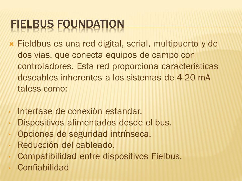 Fieldbus es una red digital, serial, multipuerto y de dos vias, que conecta equipos de campo con controladores.