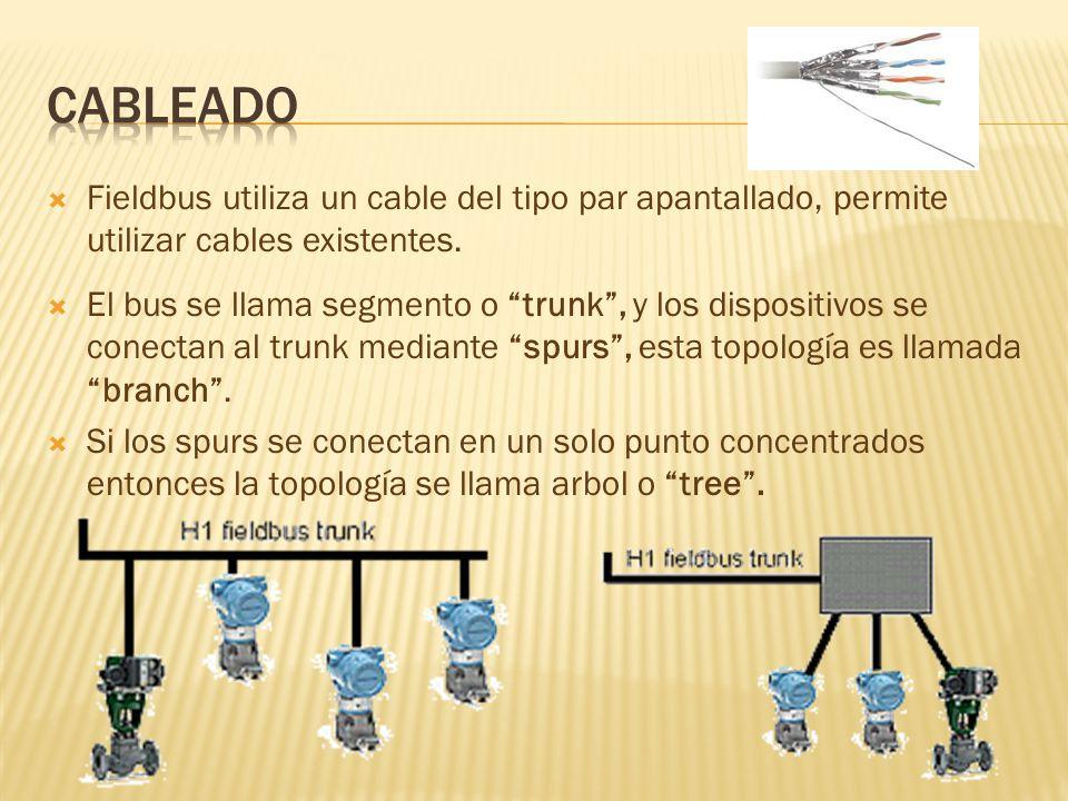Fieldbus utiliza un cable del tipo par apantallado, permite utilizar cables existentes.