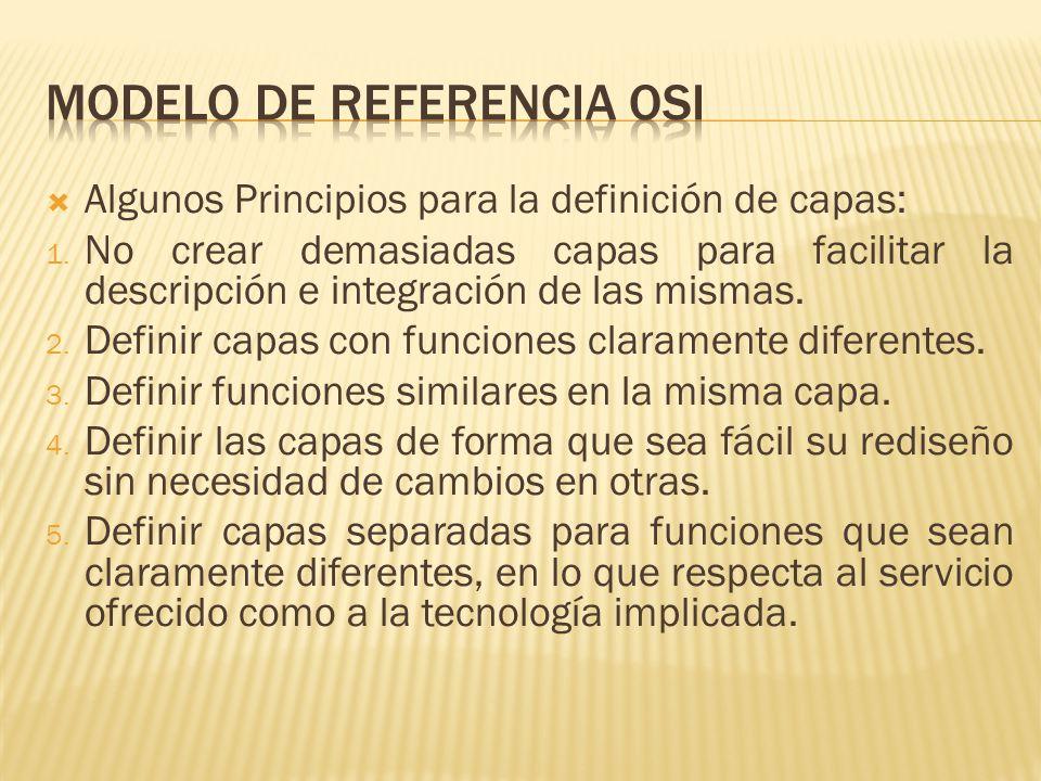 Algunos Principios para la definición de capas: 1.