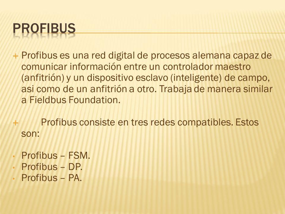Profibus es una red digital de procesos alemana capaz de comunicar información entre un controlador maestro (anfitrión) y un dispositivo esclavo (inteligente) de campo, asi como de un anfitrión a otro.
